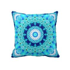 Blue Ice Lace Doily, Abstract Aqua Pillows #PODpinparty #dianeclancy