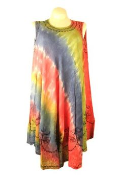 Tie Dye Multi Color Sun Dress / Swimsuit Cover « Dress Adds Everyday - OK, maybe not tie dye, not a fan of that - but love the cut - comfy for outdoor chores or poolside lounging