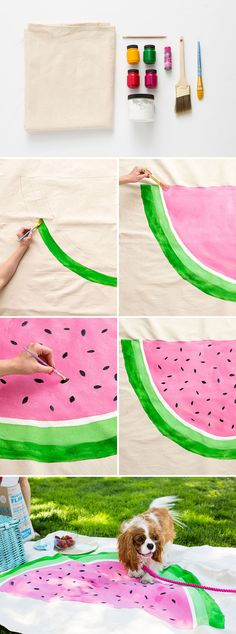Your picnic just got a whole lot cuter with this DIY. 1. Sketch out your design on a piece of paper. 2. Cut your drop cloth to size if necessary. 3. Use a pencil to outline your design on the drop cloth. Paint over your design, then let dry. 4. Once dry, flip over your drop cloth and iron over the painted sections to seal the paint. 5. Hem picnic blanket with a sewing machine. That's it!
