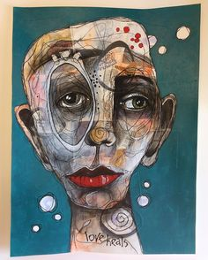 (SOLD) Another collage face for Gillian Lee Smith's class. I LOVE doing these quirky faces! Face Collage, Collage Art, Abstract Portrait, Portrait Art, Abstract Art, Collages, Quirky Art, Ecole Art, Artist Sketchbook