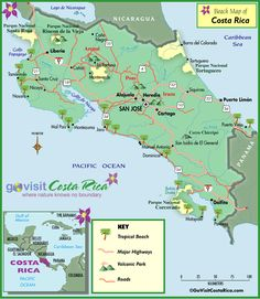 Costa Rica Beaches Map   RePinned by : www.powercouplelife.com