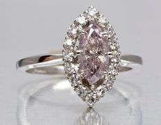 Pink Diamond Ring, Marquise Diamond, Halo Diamond, Rare Diamonds, Pink Diamonds, Jewlery, Jewelry Box, Thing 1, Dream Engagement Rings