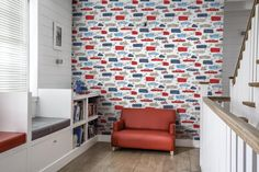 This design is called Motor and is from the Jack N Rose wallpaper collection by Galerie. Rose Wallpaper, Kids Wallpaper, Kids Decor, Home Decor, Designer Wallpaper, Decoration, Playroom, Blinds, Bookcase