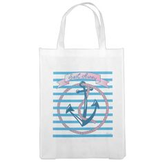"""Sail Away"" Nautical Anchor with pink rope Reusable Grocery Bag - ingeinc.com"
