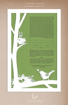 Lovers Nest papercut ketubah