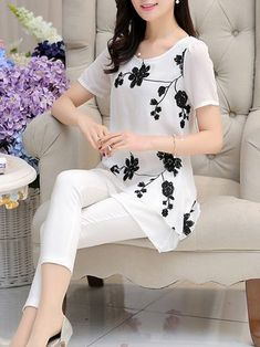 Short Sleeve Casual Floral Embroidered Chiffon Blouse Chiffon Blouses, Shirt Blouses, Shirts, Fashion Gallery, Black Shorts, Pageant, Floral Tops, Short Sleeves, Plus Size