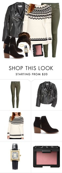"""Spencer Hastings inspired outfit with a leather jacket"" by liarsstyle ❤ liked on Polyvore featuring H&M, St. John's Bay, Forever 21, NARS Cosmetics, Wanderlust + Co, Christmas, college and WF"