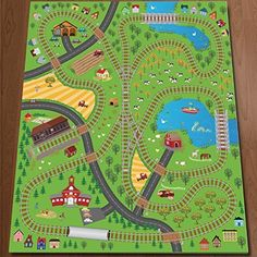 giant kids childrens railway track lines city playmat fun town trains cars play village farm road