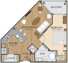 Luxury Apartment Floor Plans in Gaithersburg, MD Small House Plans, House Floor Plans, Luxury Apartments, Small Apartments, Triangle House, Apartment Floor Plans, Sims House, Tiny House Design, House Layouts
