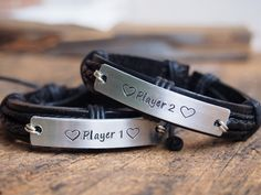 Matching couple bracelets, Custom bracelets for couples, anniversary date bracelet, personalized couples bracelet, Turntopretty   Personalized Bracelets   Custom Necklace   Wholesale craft supplies - Turntopretty