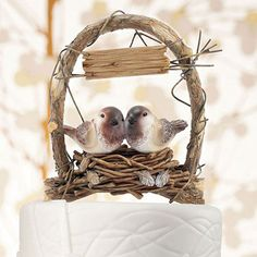 """A Love Nest"" - Love Birds Wedding Cake Topper StressAwayBridalShop.com #lovebirdwedding"