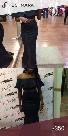Two piece black off the shoulder prom dress BRAND NEW!! NEVER WORN ( except for this pic at the store ) group usa Dresses Prom