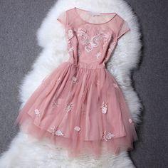 Stitching embroidery silk dress XXA621032