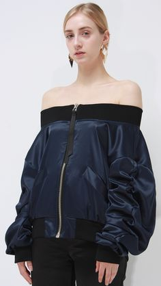 Make evening wear. farrow off shoulder bomber jacket – LOÉIL #acetinados #jaqueta #bomber…