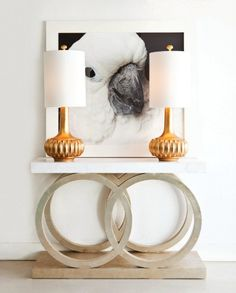Designer tip: Take a picture of your bird. Blow it up. Position it in your home so that it appears that your bird is about to devour one of your lamps.  --  @rubyspikes