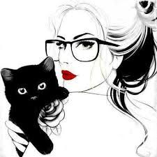 girl and cat drawing - Pesquisa Google