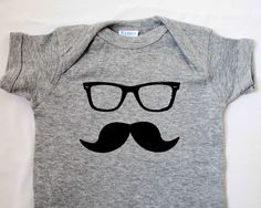 Moustache and Glasses Onesie - Size 6 months or 12 months, Baby Clothing, screen print, silkscreen, Ray Bans, Wayfarers, romper, Creeper