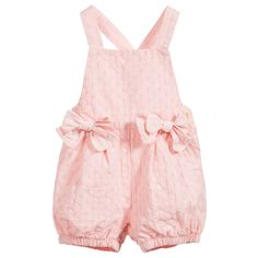 Baby Girls Pink Embroidered Shortie with Bows, Il Gufo, Girl