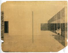 German Pavilion, International Exposition, Barcelona, Spain, Interior perspective. Ludwig Mies van der Rohe (American, born Germany. 1886–1969)