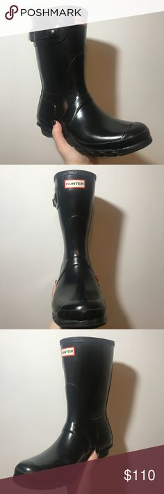 Hunter Short Glossy Rainboots Hunter short, glossy, black rain boots. Gently worn. Some scratches, but the gloss distracts from them. Very comfortable and great in the rain. Fits well for wide calves as well. Size 10. Open to offers. Hunter Shoes Winter & Rain Boots