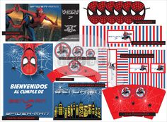 Cumpleaños nro 7 de Benjamin - Temàtica: SpiderMan. Diseño de tarjeta de invitación, banderines, wrappers, círculos multiuso, caja pochoclera, cartel de bienvenida, envoltorios para golosinas, cartelería mesa dulce y etiquetas para botellas.
