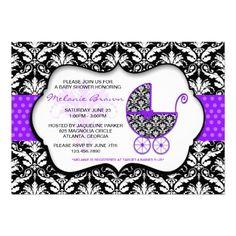 Chic Purple Polka Dot Damask Baby Shower Invite