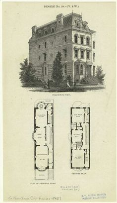 Townhouse Floor Plan Discover Perspective View And Floor Plans Of A Three-Bedroom House In New York City Century. Floor plans of a house in NYC. One of hundreds of thousands of free digital items from The New York Public Library. Victorian House Plans, Vintage House Plans, Antique House, Victorian Homes, The Plan, How To Plan, Architecture Drawings, Architecture Design, Victorian Townhouse