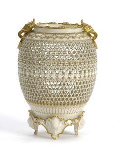 George Owen Royal Worcester Porcelain Reticulated Vase