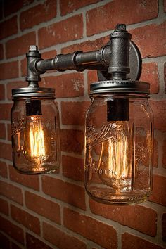 Industrial Lighting – Lighting – Mason Jar Light – Steampunk Lighting – Bar Light – Industrial Chandelier – Wall Light - All For Decoration Pipe Lighting, Mason Jar Lighting, Unique Lighting, Mason Jar Lamp, Sconce Lighting, Lighting Ideas, Bathroom Lighting, Lighting Design, Mason Jar Light Fixture