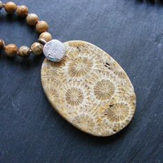 Necklace in Sterling Silver with Fossil Coral & Jasper Gemstones Hall Marked  £45.00