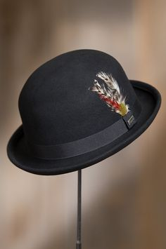 c2b89c4849b Crushable Wool Derby Bowler Hat with Feather Accent