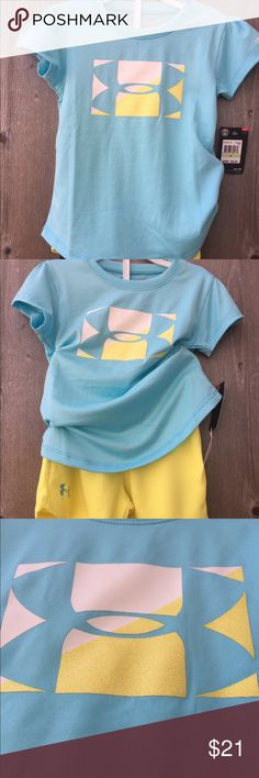 Toddler 4T Under Armour Tee & Shorts set NWT Give your little one athletic style she'll love with this girls' Under Armour Logo Graphic Tee and short set. In Venetian Blue. Features 2-piece set with Tee and matching shorts. Tee: crew neck, short sleeve, Under Armour Logo. Shorts: elastic waistband. Size 4T NWT. Under Armour Matching Sets