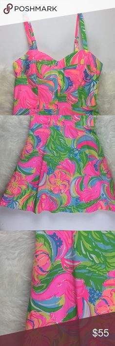 Lilly Pulitzer Willow Dress 2 Elephant So A Peelin Lilly Pulitzer Willow Dress Size 2 Neon Elephant So A Peeling pattern Lilly Pulitzer Dresses Mini