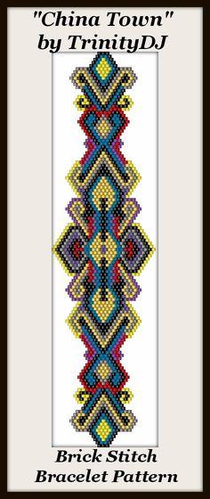 BPBR062 China Town Brick Stitch Bracelet Pattern door TrinityDJ
