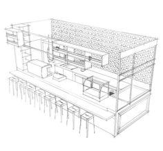 Retail Restaurant Interior Design Space Sketch, Sketch Up Style, 스케치업 스타일, 패스트푸드 음식점 인테리어 디자인 스케치