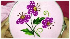 Hand embroidery stem stitch, Romanian stitch and Spider web variation - YouTube