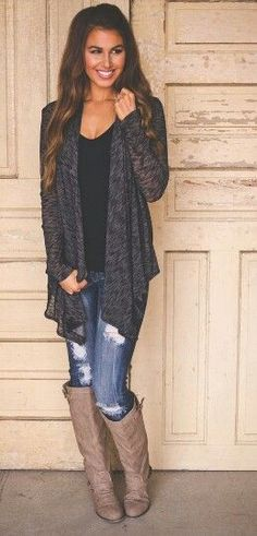 Love the slouchy cardigan with boots. Have all of it already.