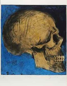 A Side View in Florida, Jim Dine. This piece is from a collection of works themed around skulls. The side view of the skull is deeply angular but curved at the same time. The shading is very interesting, with dark almost black shading that contrasts with the light cream color of the rest of the skull.