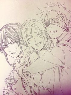 Kanda Yuu, Allen Warlker and Lavi (Hands're on the sword. How long...?)