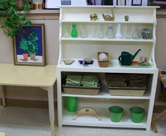Montessori practical life shelf