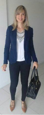 look de trabalho - executiva moderna - maxicolar - camisa branca - blazer azul