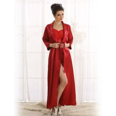 Clovia Sultry Satin Long Robe In Maroon