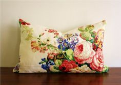 Image detail for -... handmade Vintage Chintz Linen throw pillow 22 x 14 with down insert