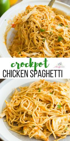 This Cheesy Crockpot Chicken Spaghetti is an easy crockpot chicken recipe for busy weeknights! It's made healthier with no canned soups, lean chicken breast and added veggies, and it cooks completely in the slow cooker for less clean up! Chicken Spaghetti Recipe Crockpot, Cheesy Crockpot Chicken, Healthy Chicken Spaghetti, Slow Cooker Spaghetti, Recipes For Spaghetti, Healthy Crockpot Chicken Recipes, Chicken Breast Recipes Slow Cooker, Crockpot Chicken Dinners, Crockpot Meat