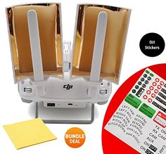 DJI Booster Range Extender Booster Copper Parabolic Antenna Signal Range Booster with BUNDLE Sticker Set and Cleaning Cloth - Copper Windsurfer for Phantom 4, 3 Pro Advanced Standard & Inspire (2pcs) ** Want to know more, click on the image.