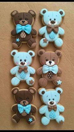 Baby boy blue and silver baby shower cookies - 1 dozen. Gateau Baby Shower, Deco Baby Shower, Boy Baby Shower Themes, Baby Shower Gender Reveal, Baby Boy Shower, Teddy Bear Cookies, Baby Cookies, Baby Shower Cookies, Cute Cookies