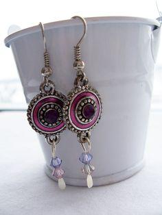 Purple metal and Swarovski crystal earrings  by SparkleandComfort, $10.00