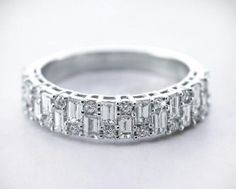 cocktail party Ring 925 Sterling Silver Round Baguette Band Nw Jewelry Women CZ #NIKI #Cocktail #Engagement