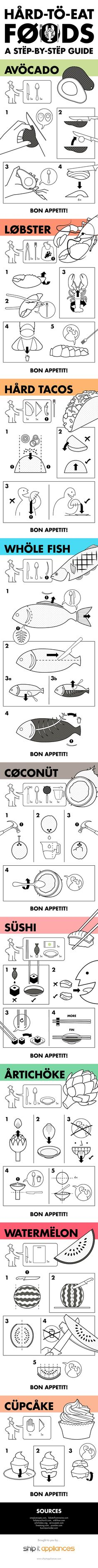 IKEA-Inspired Instruction Manuals Will Teach You How To Eat Difficult Foods. Use this kind of style of illustration for the concept board. | DesignTAXI.com