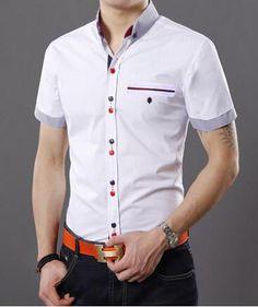 Resultado de imagen de moda camisa caballero manga corta Button Down Shirt, Men Casual, Mens Tops, Shirts, Fashion, Summer Shirts, Knights, Moda, Casual Male Fashion